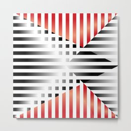 Red, Black & White Metal Print