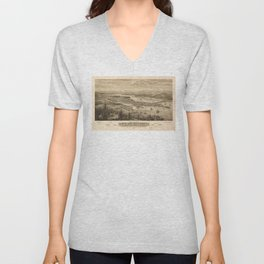 Birdy's Eye View of Olympia, East Olympia and Tumwater, Puget Sound, Washington State (1879) Unisex V-Neck