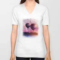 nan lawson V-neck T-shirts featuring  So Far so Close by Viviana Gonzalez