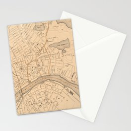 Vintage Map of Haverhill MA (1909) Stationery Cards