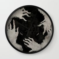 hell Wall Clocks featuring Wild Dog by Corinne Reid