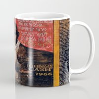 johnny cash Mugs featuring Red Johnny Cash by Ray Stephenson