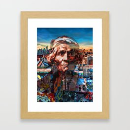 Ghost Tribe Native Americans in New York Sepia Framed Art Print