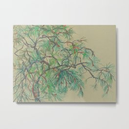 Pine-Tree Branch in Green Shades Metal Print
