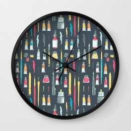 Addicted to Art supplies pattern Wall Clock