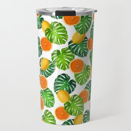 Oranges Lemons Monstera White Travel Mug