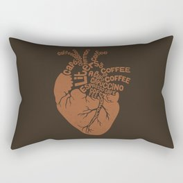 Coffee Lover Heart Rectangular Pillow