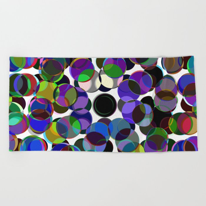 Cluttered Circles III - Abstract, Geometric, Pastel Coloured, Circle Patterned Artwork Beach Towel