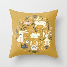 Bunnies + Teapots in Gold Throw Pillow