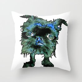 Lugga The Friendly Hairball Monster For Boos Throw Pillow
