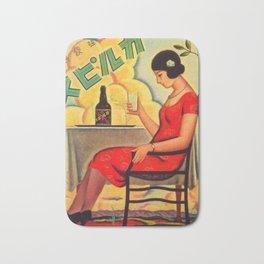 Retro Japanese Beverage Advertisement Bath Mat