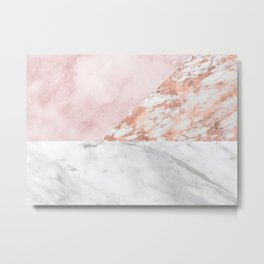 Mixed pinks rose gold marble Metal Print