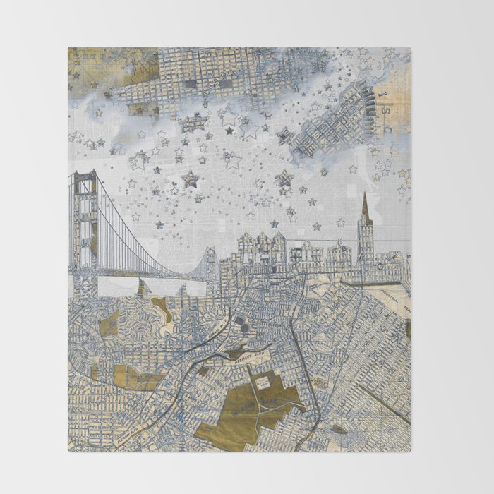 San francisco skyline old map throw blanket by belle13 society6 san francisco skyline old map throw blanket gumiabroncs