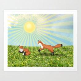 sunshine foxes Art Print