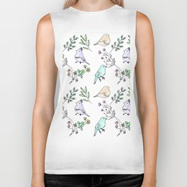 Watercolour birds Biker Tank