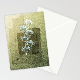 Melded Gold, geometric art-deco, with white flowers pattern, Stationery Cards