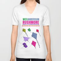 rushmore V-neck T-shirts featuring Rushmore Movie Poster by FunnyFaceArt