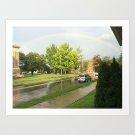 Rainbow on a cloudy day Art Print