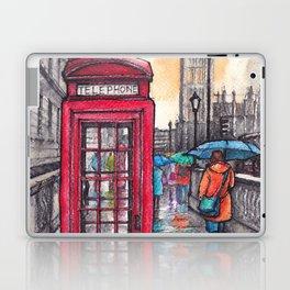 Rainy day in London ink & watercolor illustration Laptop & iPad Skin