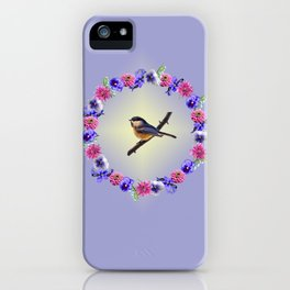 Chick-a-dee Flower Ring iPhone Case