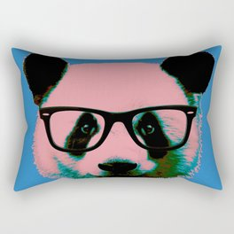 Panda with Nerd Glasses in Blue Rectangular Pillow