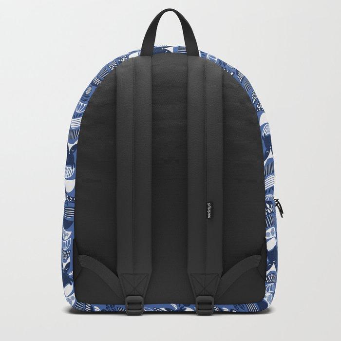 Swedish folk cats I // Indigo blue background Backpack