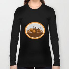 Vintage Farm Tractor Farmer Plowing Oval Retro Long Sleeve T-shirt