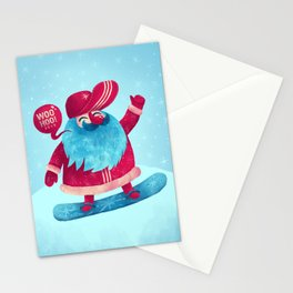 Snowboard Santa Stationery Cards