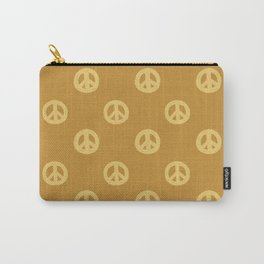 Hand-painted Acrylic Peace Sign / Symbol Pattern in Golden Ochre Colors Carry-All Pouch