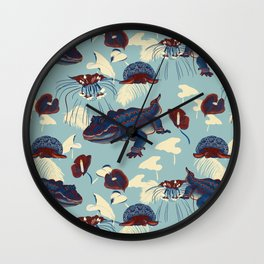 Tropical in red, light blue and dark blue  Wall Clock