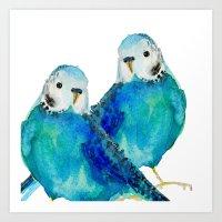 craftberrybush Art Prints featuring Budgie couple  by craftberrybush