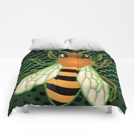 Radiactive Bee over Futuristic Beehive Comforters
