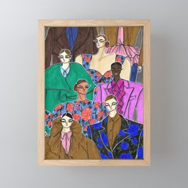 Delpozo Girls in Fall 2019 – Original Fashion art, Fashion Illustration, Fashion wall art Framed Mini Art Print