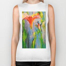 Hummingbird and flower Biker Tank