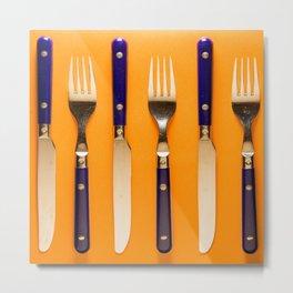blue forks and knives on orange background Metal Print