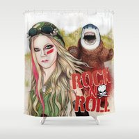 rock n roll Shower Curtains featuring ROCK N ROLL by ●•VINCE•●