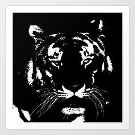 Black n white tiger Art Print