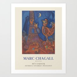 Marc Chagall. Exhibition poster for Palace of Art Műcsarnok in Budapest, 1972. Art Print