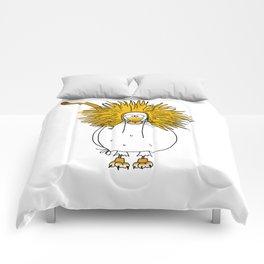 Eglantine la poule (the hen) dressd up as a lion. Comforters