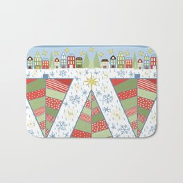 Holiday Christmas Village with Patchwork Christmas Trees Snow and Stars Bath Mat