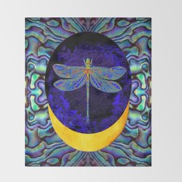 Mystical Midnight- Blue Moon  Gossamer Dragonfly Art  Throw Blanket