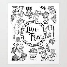 Live Free Pen Sketch Art Print