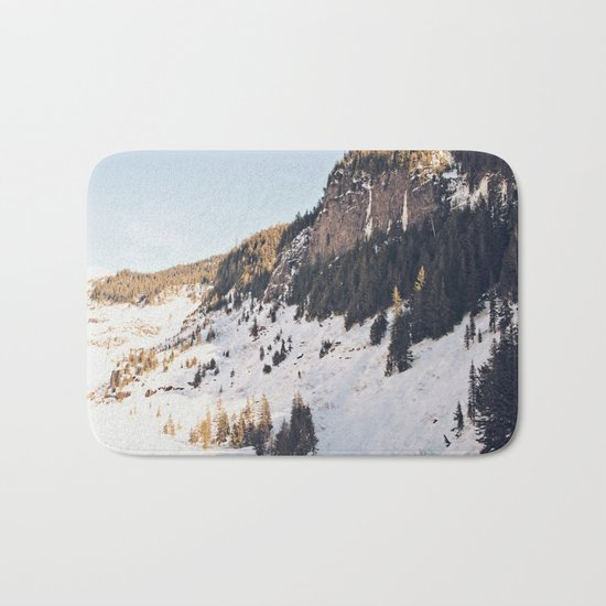 Mountain Snow in the Sun Bath Mat