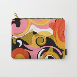 Twirl and Swirl - Pink, Orange, Black, Yellow Carry-All Pouch