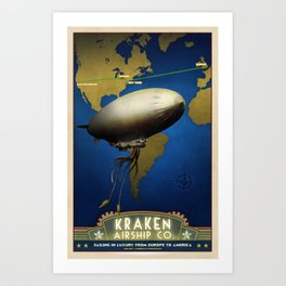 Steampunk Airship: Laurentian Homestead Retro Travel Poster Art Print Art Print