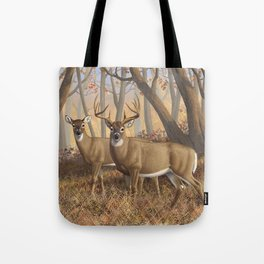 Whitetail Deer Trophy Buck and Doe in Autumn Tote Bag