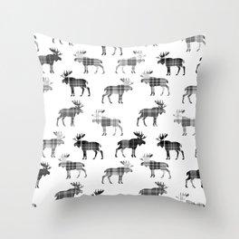 Moose Trot // Black & White Plaid Throw Pillow