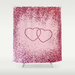 In Love Sparkling Glitter Hearts #2 #red #decor #art #society6 Shower Curtain