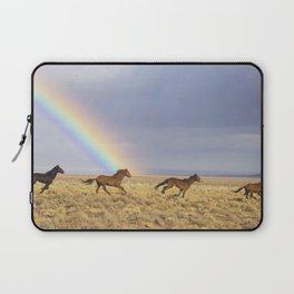 Wild Horses Before A Rainbow Laptop Sleeve