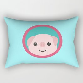 Cute pink pig with purple circle Rectangular Pillow